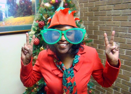 Beatrice Sams, CSBG Case Management Field Supervisor, bringing holiday cheer!